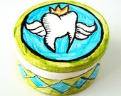 Tooth Fairy Box Ceramic Painted Children Kids blue green Black White Gold Keepsake Baby Teeth - MADE TO ORDER