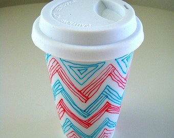 Ceramic Travel Mug Chevron Red Turquoise Zig Zag Triangles Geometric Stripes Modern Eco Friendly by sewZinski