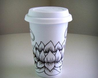 Ceramic Travel Mug Lotus Asian Flowers black white Leaves Folk Art Eco Friendly Modern Painted - MADE TO ORDER
