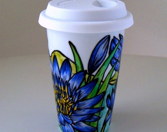 Ceramic Travel Mugs Chrysanthemum Lotus Flowers Hand Painted Botanical Landscape Periwinkle Purple Yellow Green Tropical - MADE T ORDER