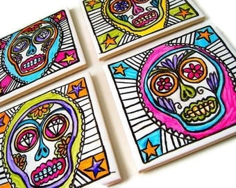 Sugar Skull Art Tiles Ceramic Coaster Set Painted Tattoo Mexican Folk Art Day of the Dead Calavera by sewZinski on Etsy