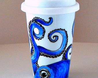 Ceramic Travel Mug Octopus Blue Nautical Sea Creature eco friendly kraken hand painted porcelain coffee tumbler - MADE TO ORDER