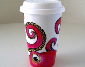 Octopus Ceramic Travel Mug Painted Pink Orange Kraken Sea Creature Eco Friendly black white - MADE TO ORDER