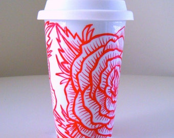 Ceramic Travel Mug Roses Hand painted Flower Tattoo Red White Eco Cup with lid Moder Flower Porcelain Tumbler - MADE TO ORDER