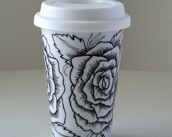 Ceramic Travel Mug Roses Tattoo Black White Eco Friendly hand painted - MADE TO ORDER
