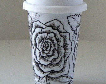 Ceramic Travel Mug Roses Tattoo Black and White Hand Painted Floral Eco Friendly porcelain tumbler with lid - MADE TO ORDER
