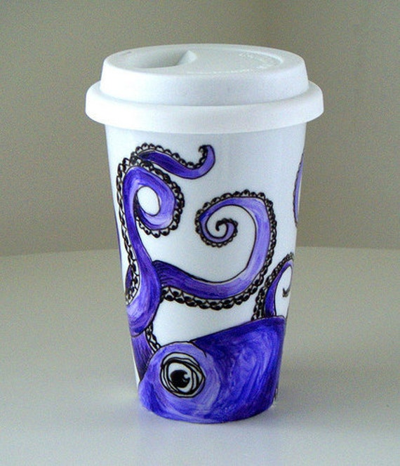 Purple Octopus Ceramic Travel Mug Eco Friendly Kraken Sea Creature Nautical hand painted - MADE TO ORDER