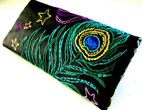 Embroidered Leather Wallet Black Leather Wallet Peacock