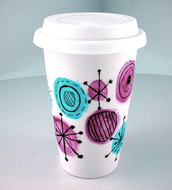 Ceramic Travel Mug Atomic Circles Polka Dot Retro Kitschy Stabursts Pink Aqua Blue Eco Friendly Painted handmade by sewZinski on Etsy