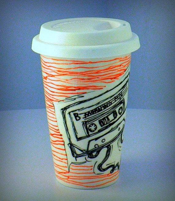 Ceramic Travel Mug Black Cassette Tape 80s retro painted red lines eco Friendly coffee cup by sewZInski