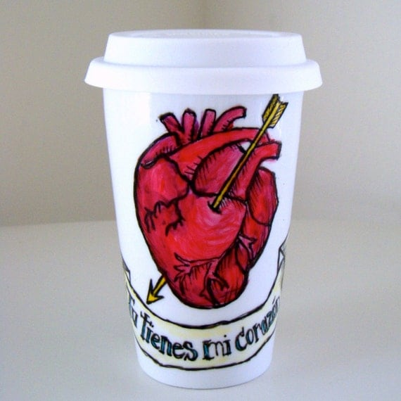 Red Heart Valentine's Day Ceramic Travel Mug Painted Tattoo Birds Loteria Love Arrow Blue Swallows Mexican folk art - Made to Order