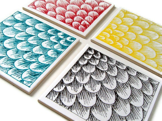 Modern Ceramic Coasters Set Tiles Scallops Scales By Sewzinski