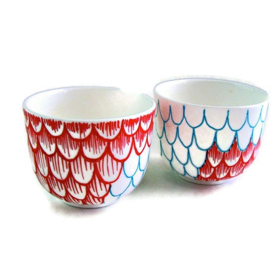 Ceramic Cups Sake Japanese Tea Hand Painted Scallops Red Turquoise Modern Nautical Upcycled - MADE TO ORDER