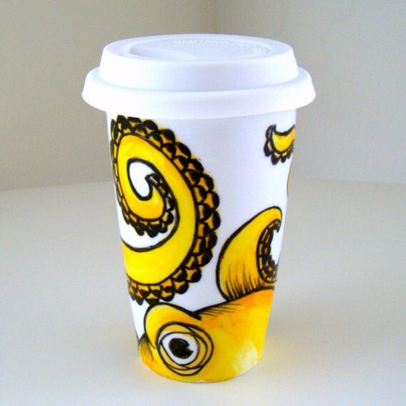 Yellow Octopus Ceramic Travel Mug Sea Creature Kraken Eco Friendly Tentacles Hand Painted - MADE TO ORDER