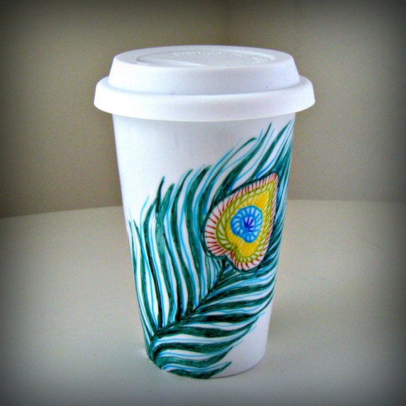 Peacock feathers ceramic travel mug hand painted by sewzinski for How to paint ceramic mugs at home