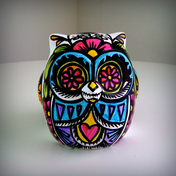 Ceramic Owl Decor Painted Day of the Dead Tattoo Flowers Hearts Folk Sculpture  Black White Pink Green Yellow Blue by sewZinski