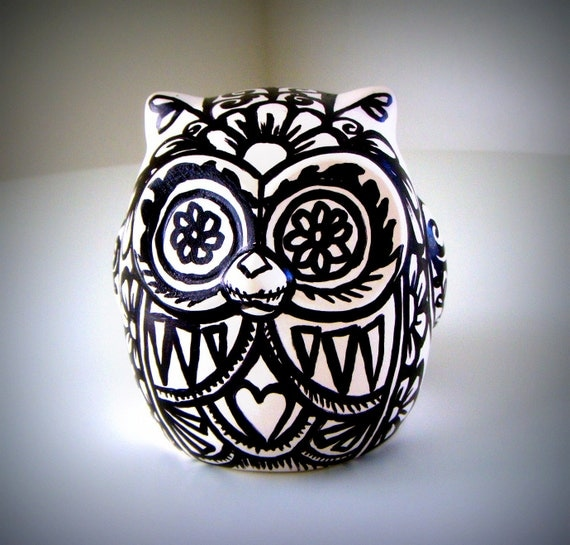 Ceramic Owl Black and White Day of the Dead Tattoo Floral Animal Sculpture Bird Painted by sewZinski