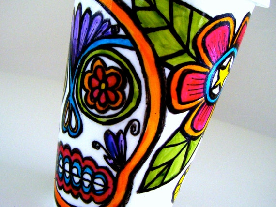 Ceramic Travel Mug Sugar Skull Dia de los Muertos Mexican Folk Art Day of the Dead Painted by sewZinski on Etsy - MADE TO ORDER