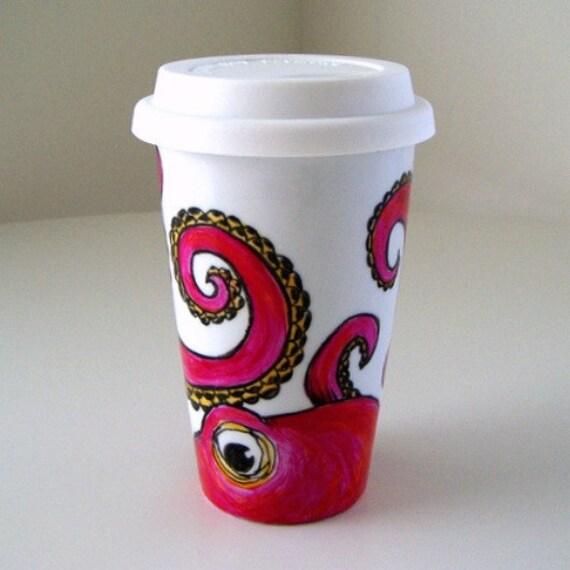 Octopus Ceramic Travel Mug Painted Pink Orange Kraken Sea Creature Eco Friendly black white - MADE TO ORDER