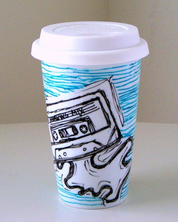 Ceramic Travel Mug Black White Mixed Cassette Tape Blue Lines 80s Geek coffee cup hipster retro hand painted
