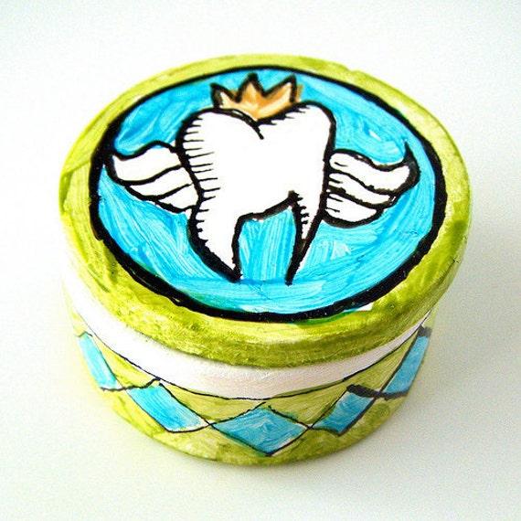 Tooth Fairy Box Ceramic Painted Children Kids blue green Black White Gold Keepsake Baby Teeth - MADE TO ORDER