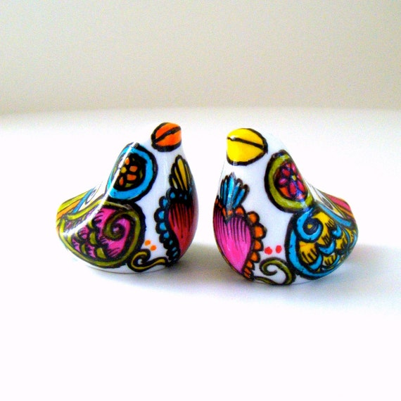 Love Birds Salt and Pepper Shakers Day off the Dead Folk Art Painted Porcelain Ceramic Cake Topper - MADE TO ORDER