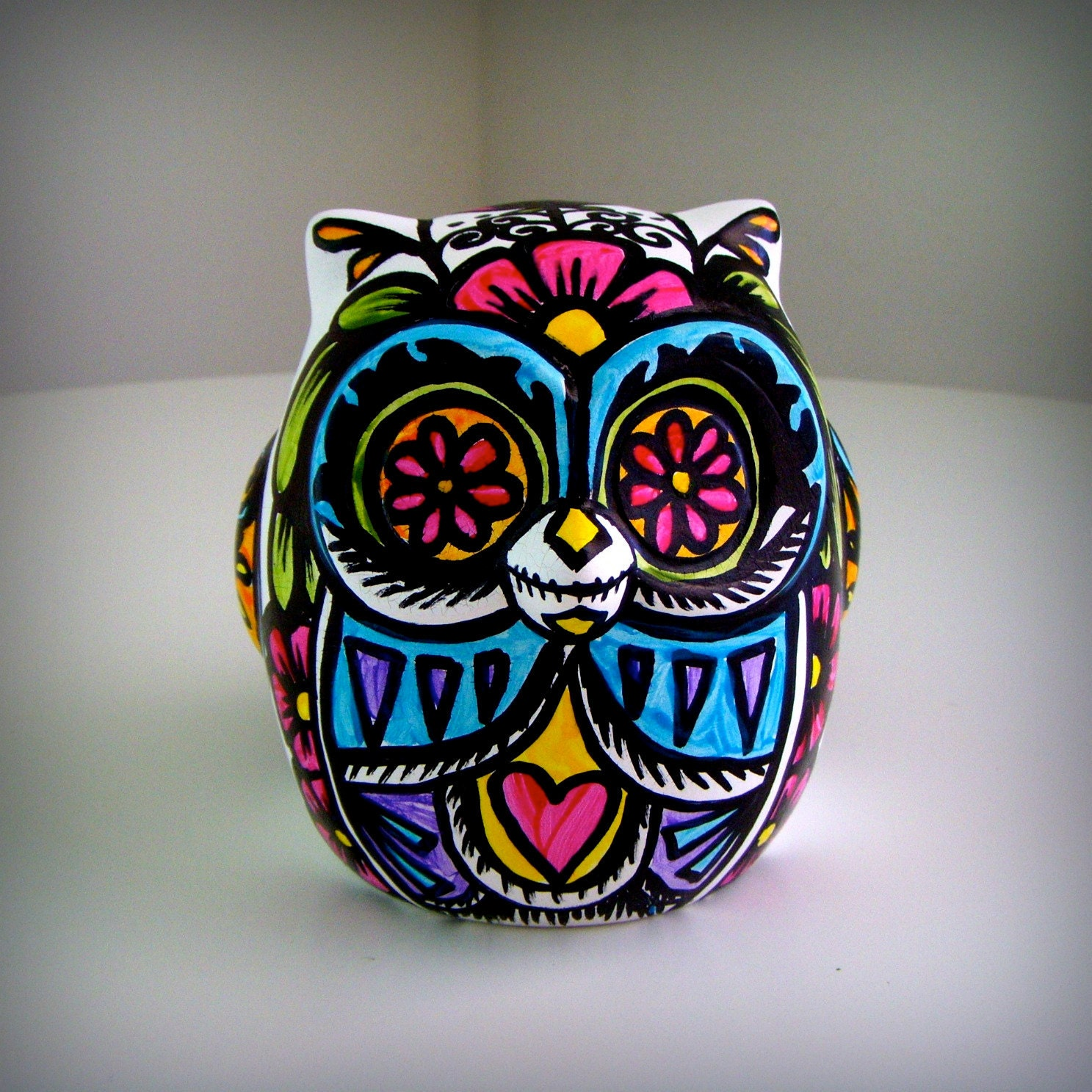 Ceramic Owl Decor Painted Day Of The Dead Tattoo By Sewzinski