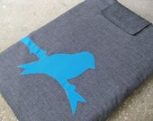 """Eco Friendly Laptop Sleeve for 13"""" Macbook - Grey, Turquoise, and Sunshine Yellow with Bird Applique"""