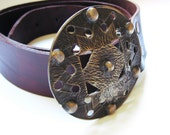 SALE - BRONZE leather belt with aleation buckle