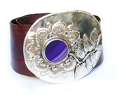 PURPLE leather belt with big agata stone in alpaca buckle