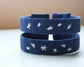 Double strand embroidered cuff bracelet starry night READY TO SHIP