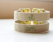 Double strand embroidered cuff bracelet inspired by Sylvia Plath -  READY TO SHIP