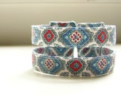 Cuff bracelet vintage fabric in boho blue medallions READY TO SHIP