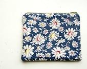 Zip pouch retro navy daisy print