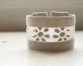 Fabric cuff bracelet vintage eyelet lace classic beige