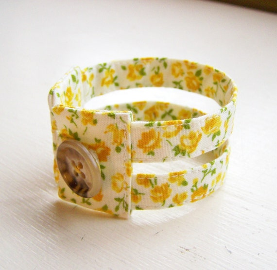 Double strand cuff bracelet in 1930s sunshine yellow blooms READY TO SHIP