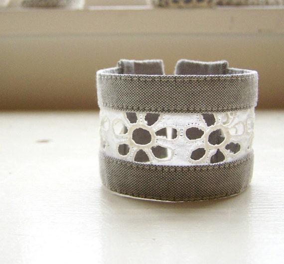 Fabric cuff bracelet vintage eyelet lace classic gray
