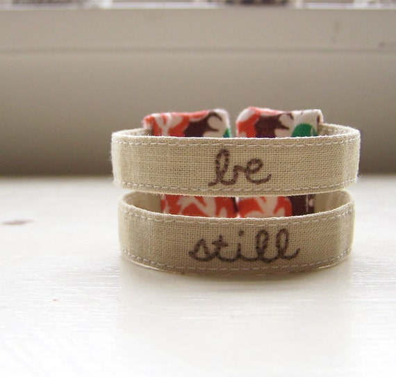 Fabric cuff bracelet vintage floral embroidered - be still
