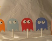 Pacman Inspired Cupcake Toppers (Set of 12)