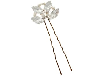 Art Deco Hair Pin, Bridal Hair piece, Wedding hairpin, Art Deco rhinestine, pearl hairpin, bridal hair comb
