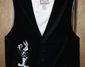 Rare 1991 Vintage Authentic Warner Bros. Studio Store Looney Tunes Tuxedo Vest Featuring Bugs Bunny, Size Medium