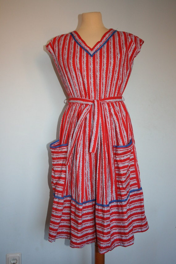 Vintage 1950s NAUTICAL Red Striped Day Dress M L Medium Large