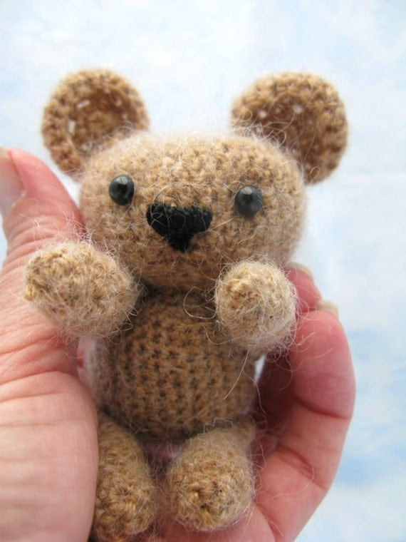 Amigurumi Little Teddy Bear : Little Bear Amigurumi Mohair Blend Teddy by SkippyRabbitStudio