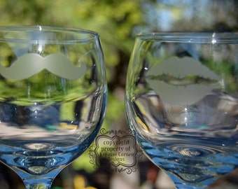 His & Hers Etched Wine Glasses