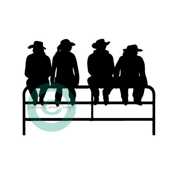 Clearance Cowboy-Cowgirls Sitting On Fence Vinyl Decal Color Matte Black