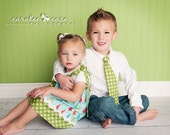 Christmas Brother and Sister Combo- Girl's Ric-Rac Pillowcase Dress and Matching Boy's Necktie