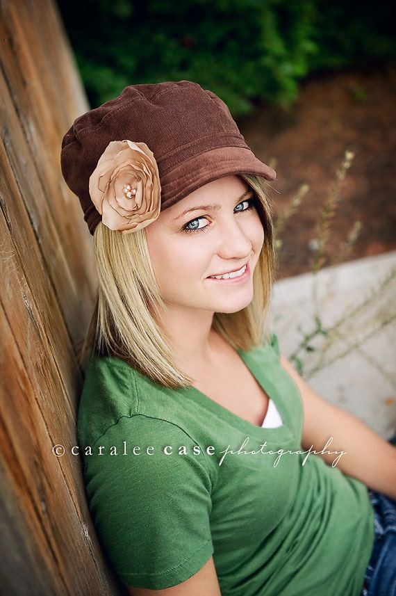 Military Hat for ADULTs and TEENs  - Brown Corduroy with Flower Accent - also available in other colors