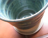 Teal and Bare Clay Flower Pot