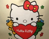 Hello Kitty Yellow Drawstring Tote - Upcycled T-Shirt - OOAK