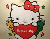 Hello Kitty Yellow Drawstring Tote - Upcycled T-Shirt - OOAK
